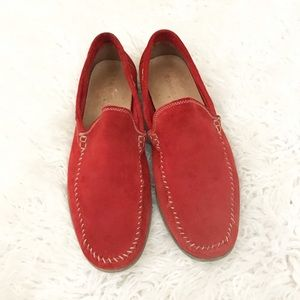 Donald J Pleiner red suede Sands loafers Sz 10